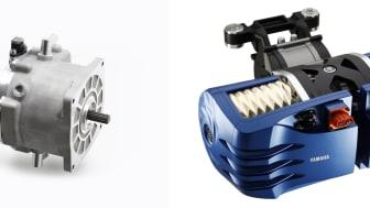 写真左より、開発中の電動モーターユニット(35kWクラス)、ユニット活用イメージ