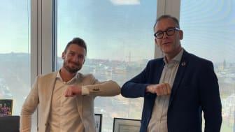 Jacob Karlsson från K-Fastigheter och Niclas Bagler från BoKlok.