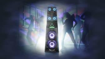 Конструкция в виде массивной колонны сделает вашу музыку слышимой издалека, а вечеринка привлечет всеобщее внимание благодаря потрясающим световым эффектам и превосходному качеству звука.