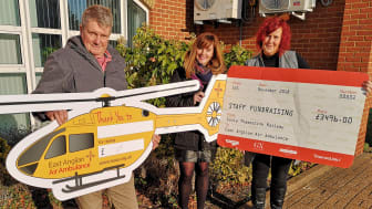 (From left) Bike crash survivor Greg Gregory, GTR's Katherine Cox and East Anglian Air Ambulance Community Fundraising Area Manager Barbara McGee.