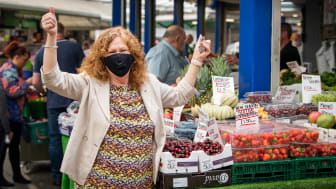 Cllr Jane Black, delighted to be doing her shopping again on Bury Market