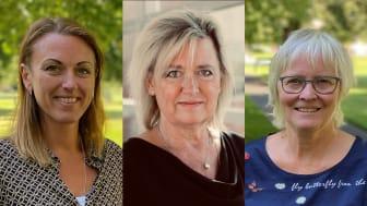 Caroline Bäckström, lektor i omvårdnad, Anette Ekström-Bergström, professor i omvårdnad och Stina Thorstensson, biträdande professor i omvårdnad. Foto: Högskolan i Skövde, Högskolan Väst.