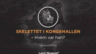 Fra 16. juni udstiller Lejre Museum for første gang skelettet, der i sin tid blev fundet i Danmarks største kongehal. Illustration: ROMU