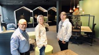 Kontorhusets Hakon Lærum hadde med seg interiørarkitekt Trine Hjelle fra Annet Format og Kristoffer Steen fra Cutfab i utviklingen av Gründerhuset.