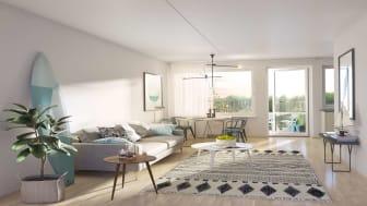 Brf Steget, Tyresö, vardagsrum och balkong