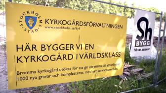 Utbyggnaden av Bromma kyrkogård (2010-2016) blev 4 år försenad och 440 procent dyrare än beräknat. Foto Lars Epstein.