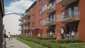 Illustration av gårdssida med balkonger/altaner och gemensamma gräsytor, BoKlok Arboristen i Falun.