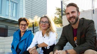 Deborah Lygonis, Frida Jägerbrand och Eivind Vogel-Rödin från Innovatum Science Park hjälper personer att förverkliga sina nytänkande affärsidéer. Nu är de på jakt efter fler med bra idéer. Foto: Lina Albinsson.
