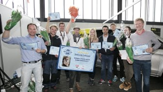 Finalistene med vinneren Sveinung Tofteland i midten på Bygg Reis Deg. Foto: Stine Østby