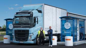 Orkla, Gasum och Volvo Lastvagnars gemensamma test för hållbara transporter gav 90 % lägre CO2-utsläpp