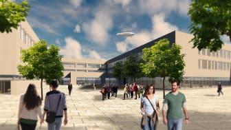 Ein aktuelles Projekt der ZÜBLIN-Direktion Bayern: Die Berthold-Brecht-Schule in Nürnberg soll Ende November 2021 bezugsfertig sein. (Copyright: Ed. Züblin AG, Zentrale Technik)