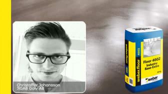 Christoffer Johansson på JIGAB har weberfloor 4602 Industri Base Extra som sin Weber-favorit