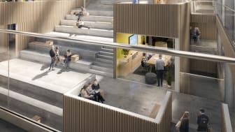Skiss nya Humanisten (interiör), Göteborgs universitet