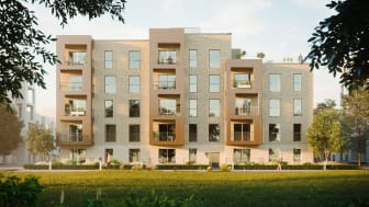 Fælledkarréen består af 87 nye, bæredygtige boliger i Ørestad Syd