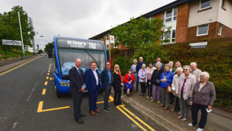 Huw Lewis Nexus Customer Service Director, Stephen King Go North East Commercial Director, Keith Merrin Director National Glass Centre and Chief Executive Sunderland Culture, and Councillor Amy Wilson, with residents and staff from Chillingham House