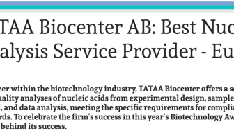 Global Health & Pharma award to TATAA Biocenter