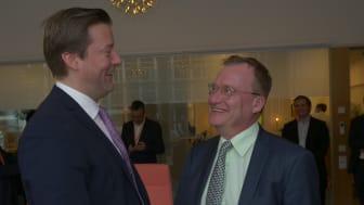 På bilden: Johan Lindehag, CEO på Ellevio och Jonas Arvidsson, vd på ONE Nordic.