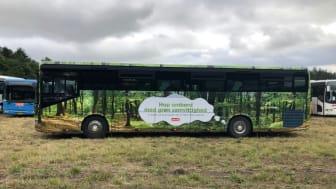 Shuttle bus i bøgeskovs motiv. De i alt 25 shuttle busser kører på HVO, som er et mere klimavenligt brændstof