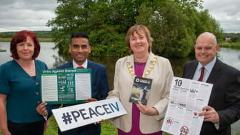 MEABC's Patricia Brennan, Remembering Srebrenica UK's Amil Khan,  Mayor Cllr Maureen Morrow and NI Chair of Remembering Srebrenica,  Peter Osborne