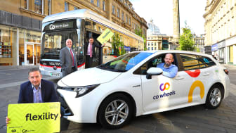 (L-R) Richard Falconer, managing director of Co-Wheels; Cllr Ged Bell, Newcastle City Council's Cabinet Member for Development, Neighbourhoods and Transport; Martijn Gilbert, managing director of Go North East; and Jamie Driscoll, North of Tyne Mayor