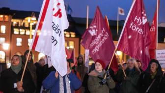 Protestera mot planerna på ombildningar av hyresrätter i Göteborg.