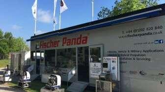 The Fischer Panda UK trailer at Crick Boat Show is on Stand Q37 this year