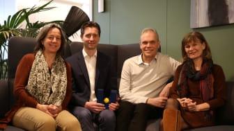 Negotiating team from Unit: (f.l.) Katrine Weisteen Bjerde, Nils Andenæs, Tore Nilsen and Nina Karlstrøm. Foto: Unit