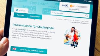 Start des Wintersemesters: Beitragsservice informiert über Regelungen zum Rundfunkbeitrag für Studierende