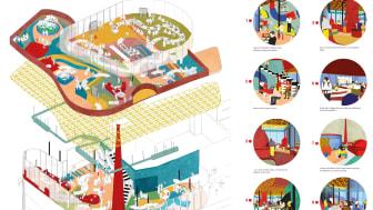 Ur årets examensarbeten från svenska arkitekturhögskolor på Konstakademien: Interdine: Celebrating human transactions in space, a new form of integration, Gaia Crocella, Umeå universitet.