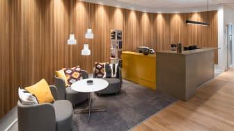 Receptionen på Beijers nya servicekontor.
