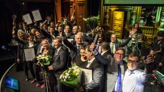 Förra årets vinnare samlade på Berns scen. Vilka som blir årets vinnare avslöjas på Återvinningsgalan 30 januari! Bild: Mikael Gustavsson