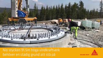 Gjutning av fundament till nio vindkraftverk i Dalarna
