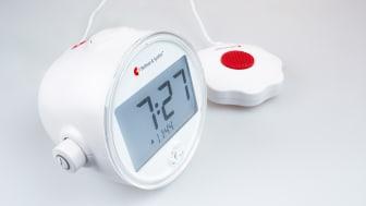 Väckarklockan har stora och tydliga siffror och knappar