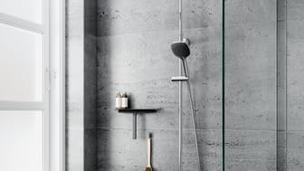 Slate 4 Shower System Material surface: chrome/black Dimensions: head shower – W x L x H = 29.5 cm x 21 cm x 2.1 cm