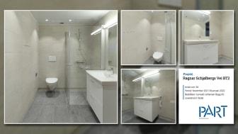 Part levererar 34 badrum till projektet Ragnar Schølbergs Vei BT2 i Norge.