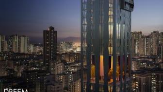 En del av förslaget 'Collective Geometries' är skyskrapan som förutom bostäder innehåller publika ytor och park.