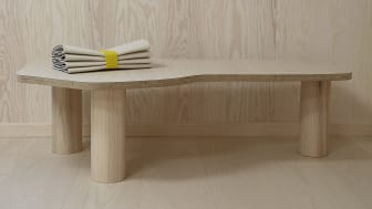 """Bench by Ida Hansson from Nordic Remake made out of leftover planks from the floor """"Gullarp"""" in hardened ash and legs """"Bertil 300"""" from Prettypegs."""