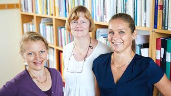 Sofia Kjellström (t.v.) tillsammans med docenterna Ann-Christine Andersson och Kristina Areskoug-Josefsson, som också kommer att delta i projektet. Foto: Patrik Svedberg
