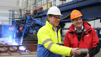 Hurtigruten CEO Daniel Skjeldam (right) officially started the construction of MS Roald Amundsen - the greenest expedition cruise ship the world has ever seen at Kleven Yards, Norway. Kleven CEO Ståle Rasmussen (left).