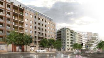 Södra Hagalund_Vy från Solnavägen vid nya bostadshus_BSK Arkitekter