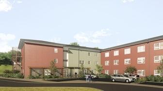 Nytt äldreboende med 60 lägenheter i Kullavik utanför Kungsbacka.  (Bild: Fredblad Arkitekter)