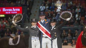 Topp tre under världscupfinalen i Göteborg 2016 är alla klara för start under Sweden International Horse Show: Tinne Vilhelmson Silfvén, Hans Peter Minderhoud och Jessica von Bredow-Werndl. Foto: Roland Thunholm