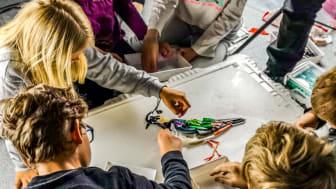 Hvalfangstmuseet (Vestfoldmuseet IKS) får støtte til miljø- og kunstformidling for barn og unge. Bildet er fra en workshop i regi av kunstnerne Kari Prestgaard og Astor Andersen. (Foto: Prestgaard/Andersen)
