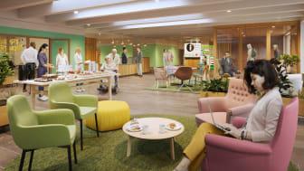 Illustration från Bromma sjukhus entré framtagen av White Arkitekter