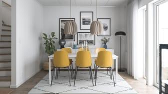 Illustration av interiör, enfamiljshus från BoKlok. OBS! Bilden är en illustration och avvikelser kan förekomma i slutgiltig byggnation.