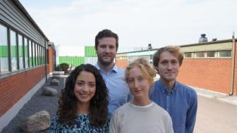 Deltagarna i det nya traineeprogrammet för Integrated Supply Chain (ISC), Carolina Braga, Johan Öjerborn, Amanda Toreskog och Henrik Fryklund.