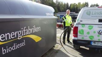 Linde energi leasar numera en egen biodieseltank.