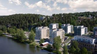 Peab väljer miljövänliga Eco-prefab från Byggelement när de bygger 63 nya hem med underbar utsikt mot Södertälje kanal och Mälaren.