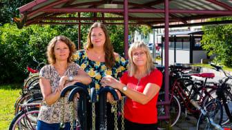 På bilden: Lena Bieblad, Josefine Wigström och Ingela Bottke, mobilitetssamordnare för HAR-projektet i Skellefteå, Umeå och inlandskommunerna. Foto: Jörgen Boström