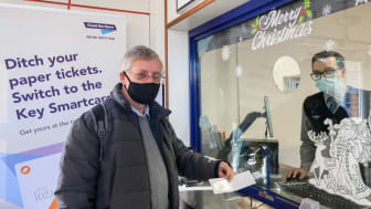 Neil Middleton, of Rail Future Hertfordshire and Bedfordshire, is issued with a free key smartcard at Hitchin station 1